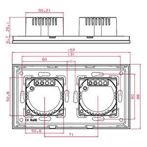 Image 5 - Bingoelec Eu Standrad 5G 1/2 Way Muur Light Touch Screen Switch Wit Zwart Goud Crystal Panel Touch Schakelaar, AC110 250V 86*157 Mm