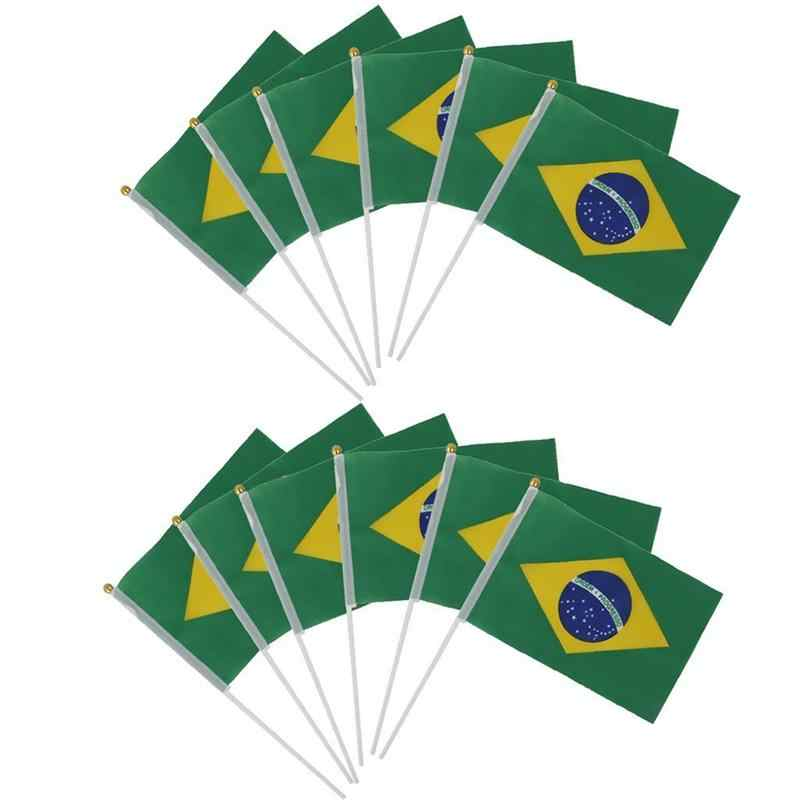 12pcs Mini Flags Handwaving flag Brazil Brazilian National Flags Hand sports matches and culture eventsWaving Flags Plastic