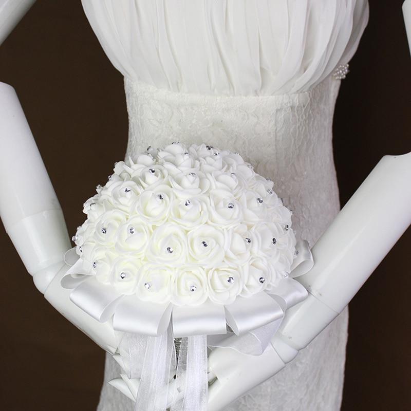 זר פרחים כלה זר פרחים רוסר סאטן עם זרע קריסטל זר חתונה המפלגה Bridemaid זר פרחים דה P15