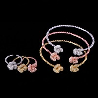 Blucome 6PC Trendy Petal Jewelry Set AAA Zircon Copper Ring Bangle Sets For Women's Anniversary India Wedding Exquisite Ornament
