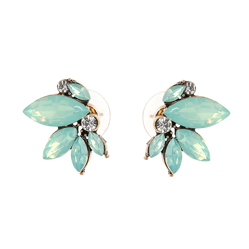 8 colors Good quality simple small wing Symmetric imitated crystal earrings fashion women statement earring girl party stud earring NHJJ2712