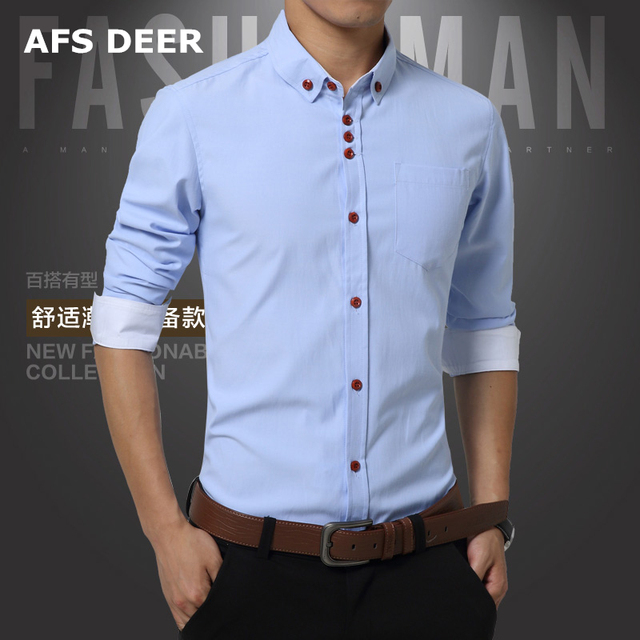 eb25bb0e Hombres Camisa de Cuello Mao Manga Larga Slim Fit Nueva Moda Casual Hombres  de la Camisa 100% de algodón Para Hombre Vestido Camisas sólidas de Los ...