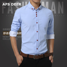Men Shirt Long Sleeve Mandarin Collar Slim Fit New Fashion Casual  Shirt Men 100% cotton  Mens Dress solid Shirts Men Clothes