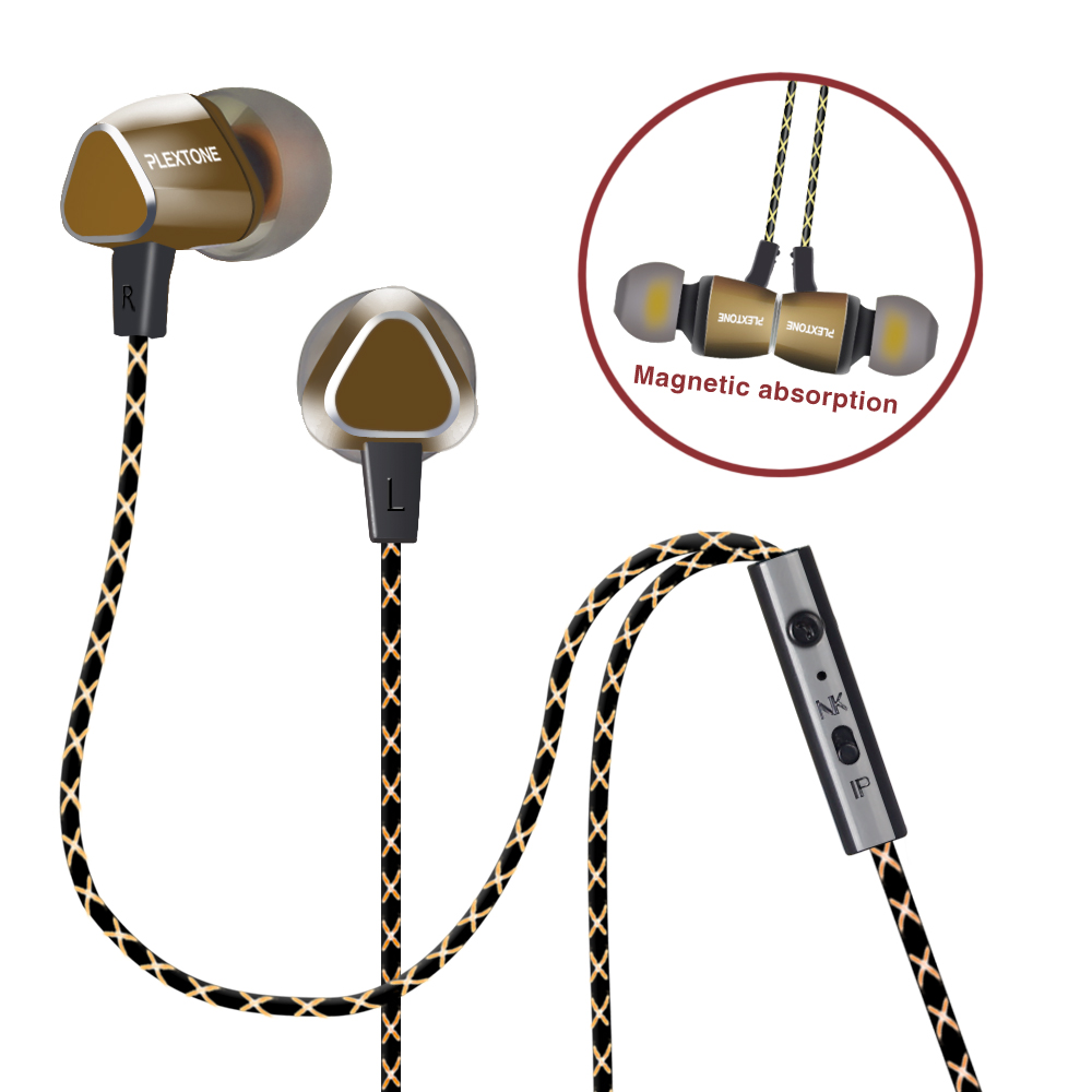 PLEXTONE X36M In Ear Earphone With Microphone Magnetic Noise Cancelling Earbuds Stereo Earphones For Mobile Phone Mic Gaming kaluos 3 5mm noise cancelling in ear earphones with microphone for iphone 4s 5s 6 plus samsung s7 lg g3 universal phone earphone