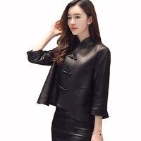 KULAZOPPER Female Genuine Leather Jacket Real Sheepskin Coat Short Slim Jacket For Women High Quality Stand Collar Outwear ZS402