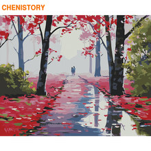 CHENISTORY Frame Red Forest DIY Painting By Numbers Landscape Paint By Numbers Acrylic Canvas Painting For Home Decor 60x75cm(China)