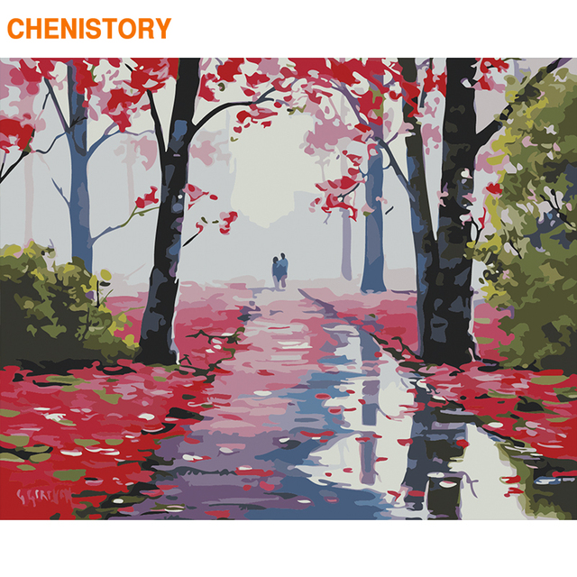 CHENISTORY Frame Red Forest DIY Painting By Numbers Landscape Paint By Numbers Acrylic Canvas Painting For Home Decor 60x75cm