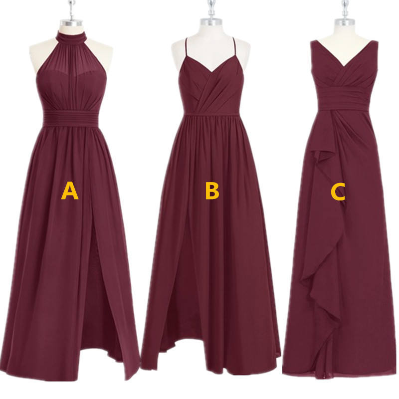 3 Styles Chiffon   Bridesmaid     Dresses   2019 With High Split Burgundy Formal   Dress   for Wedding Party New Vestidos de fiesta de noche
