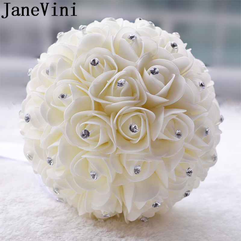 Купить с кэшбэком JaneVini White Ivory Wedding Bridal Bouquet Crystal Foam Roses Bride Flower Bouquet Bridal Brooch Fleur Blanche Mariage 2019
