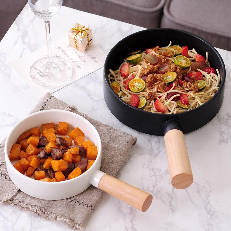 >15/20CM <font><b>Nordic</b></font> <font><b>Style</b></font> Steak Plate Pan Wood Handle Spaghetti Pasta Salad Bowl Simple <font><b>Ceramic</b></font> Food Container Round Dinner Tableware