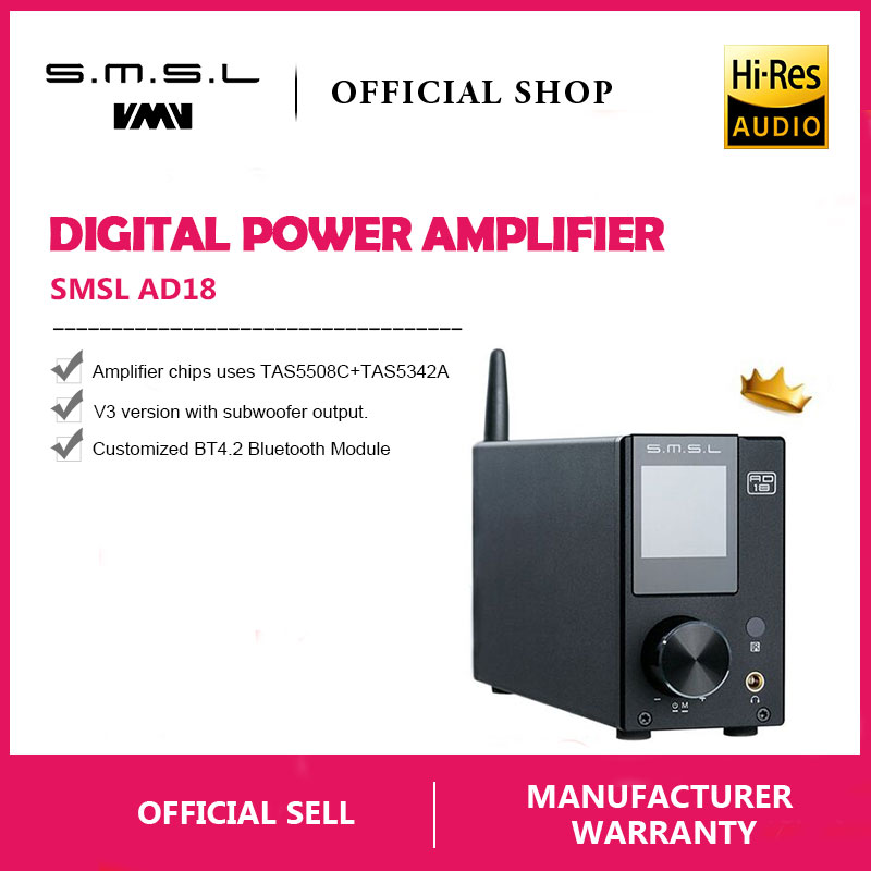 SMSL AD18 HI FI Audio Stereo font b Amplifier b font with Bluetooth 4 2 Supports