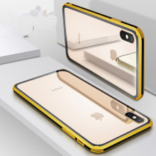 PC+Color edge Glass Case For iPhone XS MAX XR Transparent Patterned PC+Edge Silicone 7 6 S 6s 8 Plus Back Cover