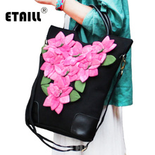 купить ETAILL Pink Handmade Flower Appliques Canvas Bags for Women 2018 Black Bolsas Top Handle Bag Tote Messenger Crossbody Bag по цене 3210.97 рублей