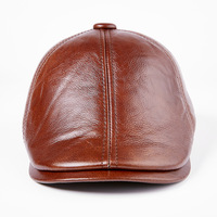 old man winter leather hat men leather peaked cap hat male winter cap thickening