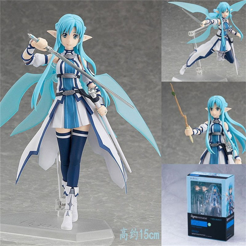 Anime Figure Sword Art Online Figma 264 Yuuki Asuna Undine Special PVC Action Figure Brinquedos Collectible Model Kids Toy 15CM nendoroid anime sword art online ii sao asada shino q version pvc action figure collection model toy christmas gifts 10cm