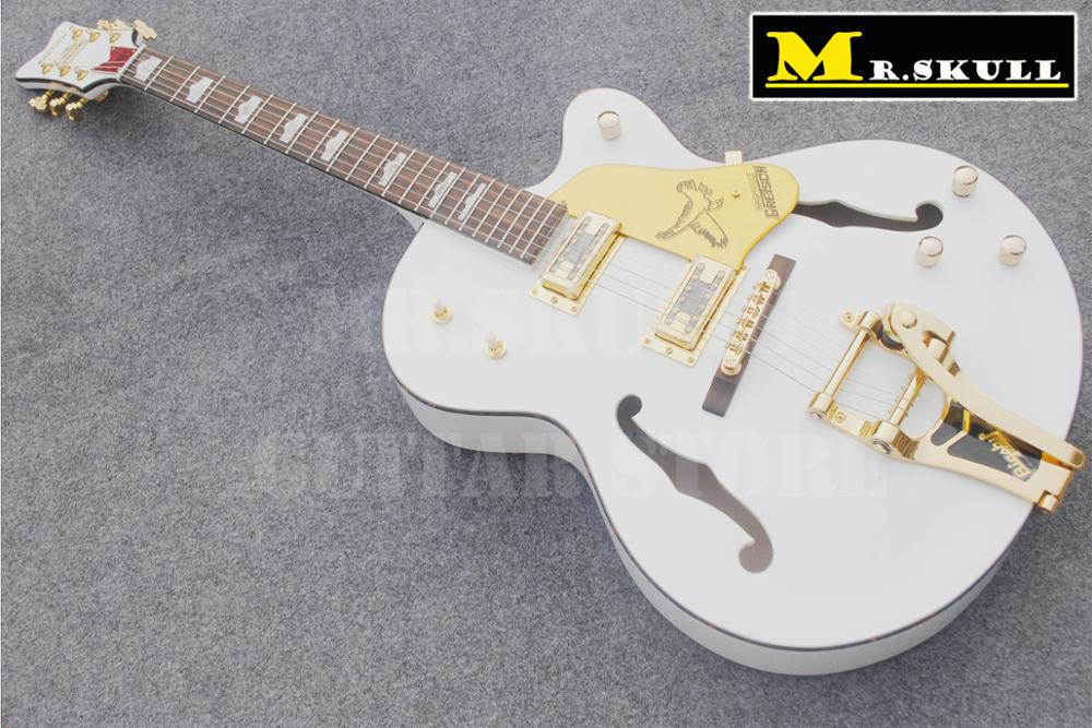 OEM Gib Guitars white Gretsch falcon jazz electric guitar with semi hollow guitar boby hot sale high quality custom shop nashville gretsch white falcon 6120 hollow body jazz electric guitar with bigsby tremolo
