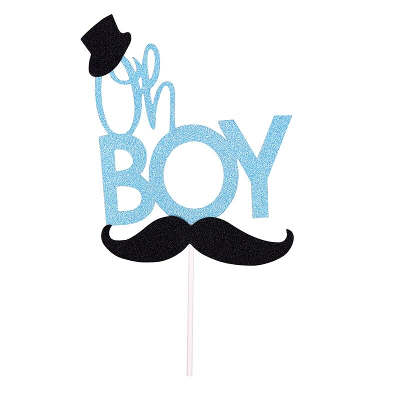 1 pcs OH Boy Cupcake Toppers Baby Shower Birthday Party ...