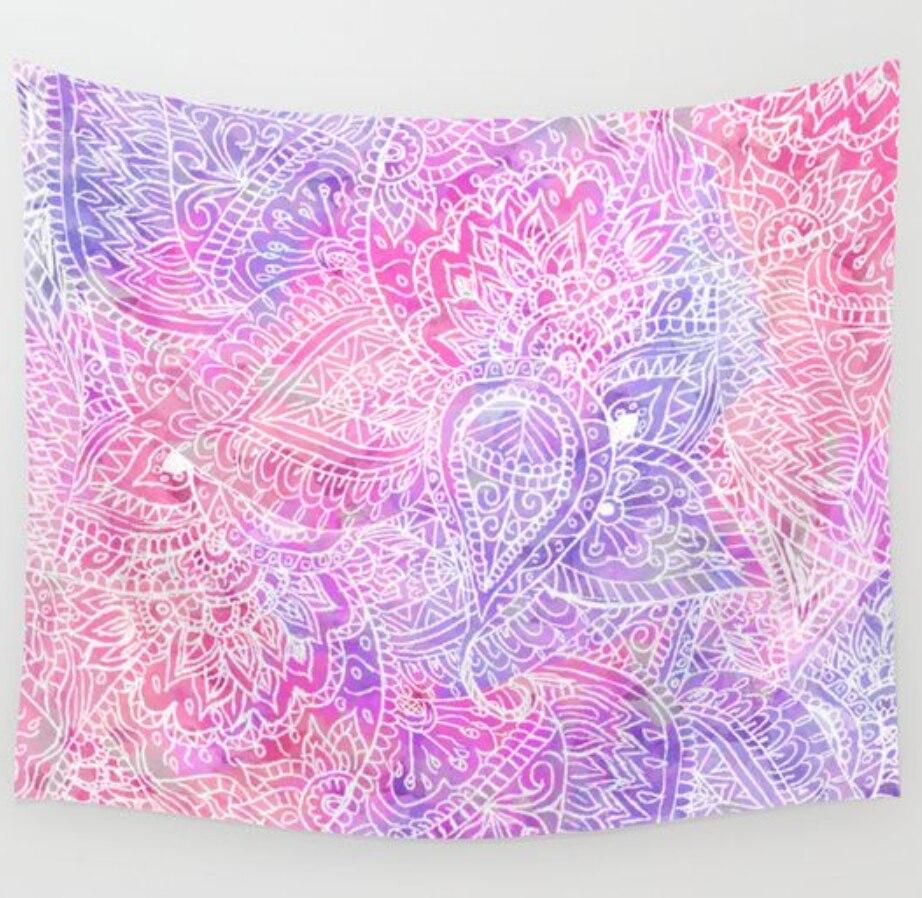 <font><b>Indian</b></font> Pink Purple Mandala <font><b>Tapestry</b></font> Wall Hanging Wall Carpet Hippie Decorations Beach Throw <font><b>Bohemian</b></font> Cotton <font><b>Tapestries</b></font> 203x153cm