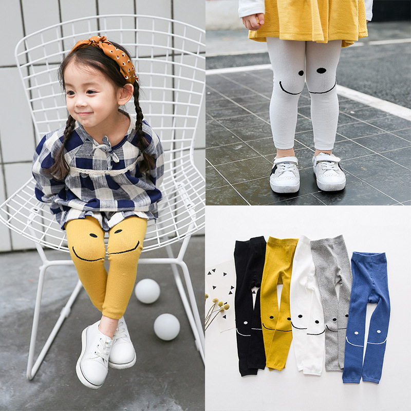 Leggings For Girls Age 3-9y Cotton Smiling Face Cartoon Trousers  Children's Clothes Cheap  Fashion  Kids Leggings