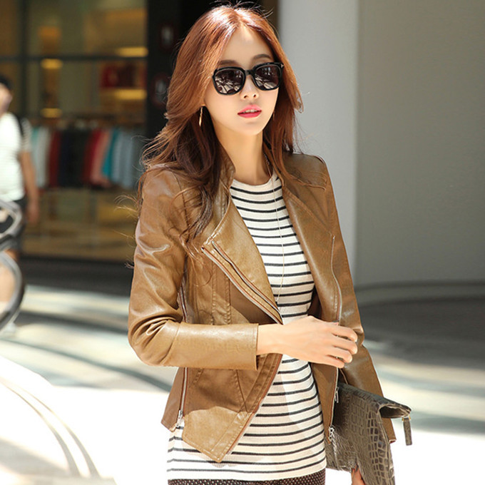 Brown Leather Jacket Womens Clothing | Outdoor Jacket
