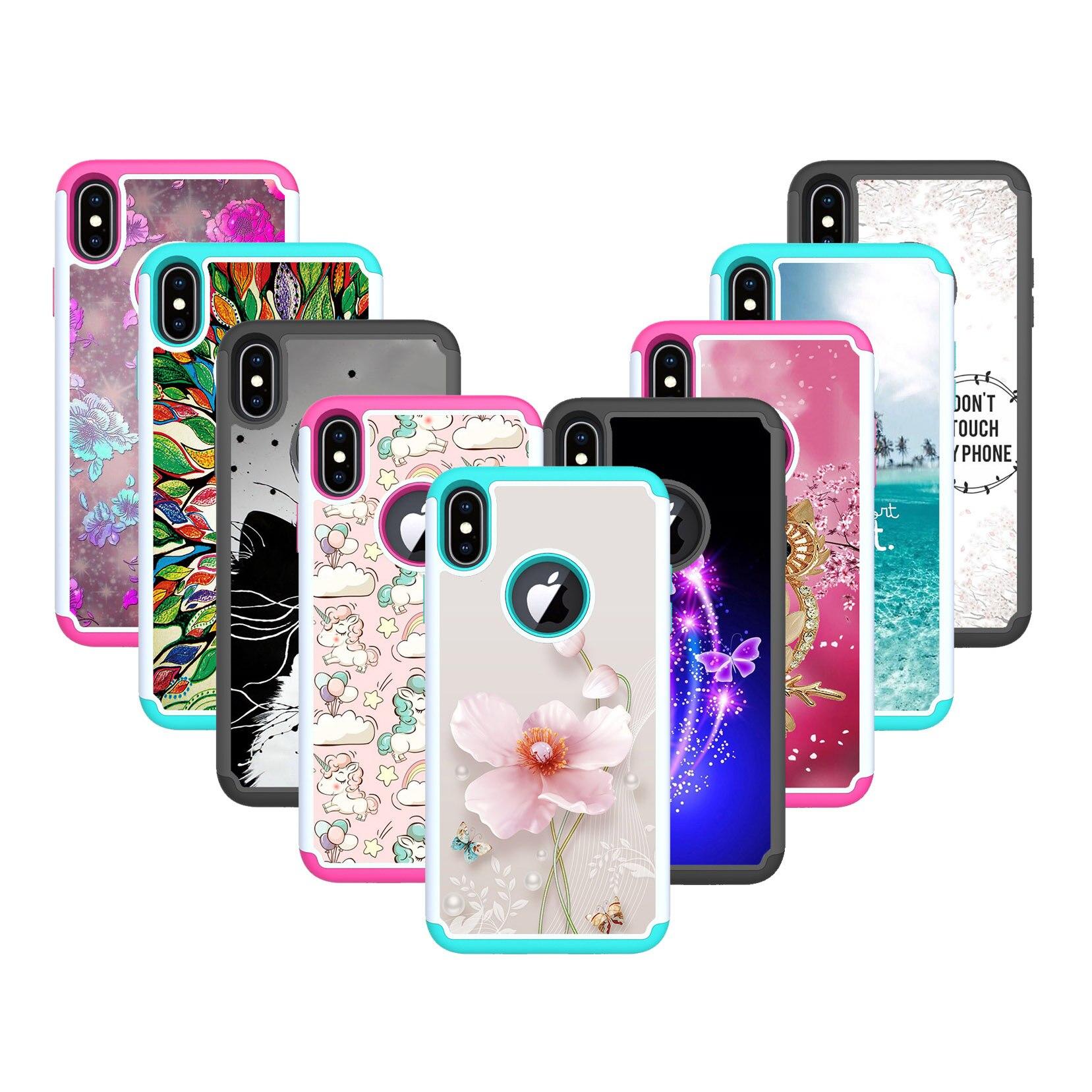 Pintado pele silício PC 2 em casos Para iphone 7 1 plus 8plus Case colorful Je Anti-knock back capa Para O iphone X XSmax capa