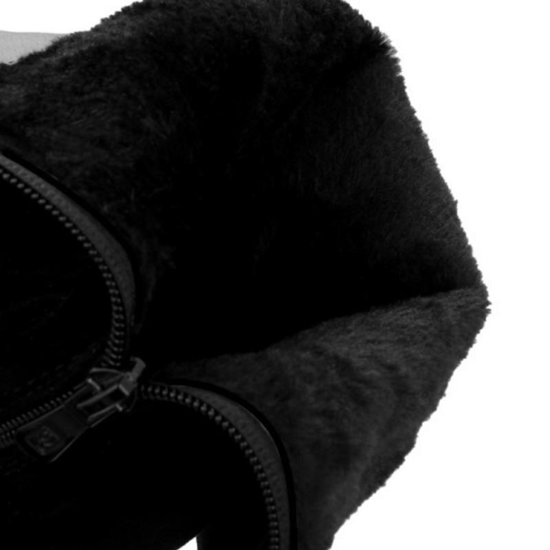Fourrure Velvet Taille red Zipper Botas Talon De Fur Femmes Cold Haut Razamaza Cours Fur Chaussures Long forme Woen Black Épaisse Bottes Winter 34 black Plate Genou 43 On4wSqd