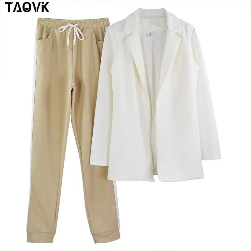 TAOVK Women's Suits Turn-down Collar Jacket White Striped Pant two Pieces Set Pant Suits woman's sport costumes Feminine clothes
