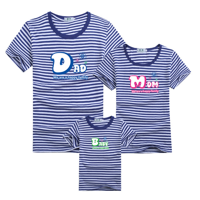 1Pc Family Matching Outfit T-shirt Blue Stripe Clothes For Matching Family Clothes Mother Father Son Daughter Summer T-shirts