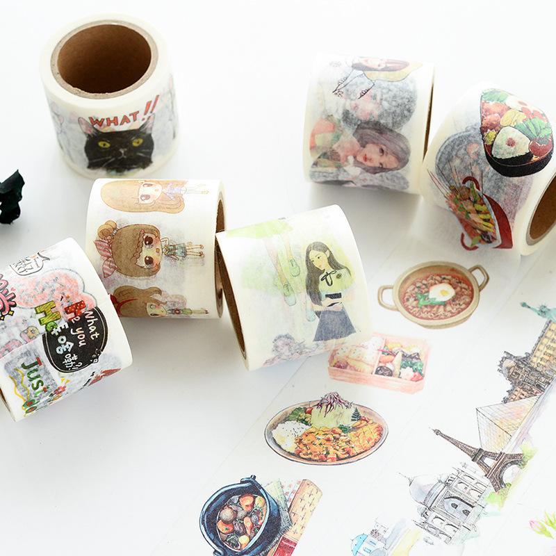 Wide Cute Cat Japanese Food Masking Washi Tape Adhesive Tape Decor Kawaii Girls Diy Diary Scrapbooking Sticker Label Stationery