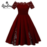 AZULINA Plus Size Lace Panel Off The Shoulder Dress Women Vintage Flare Party Dress Robes 2018