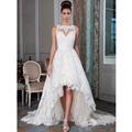 Custom Made Vintage Wedding Dress White/Ivory Satin Applique A-Line Low and High Lace Wedding Dress Bridal Gown