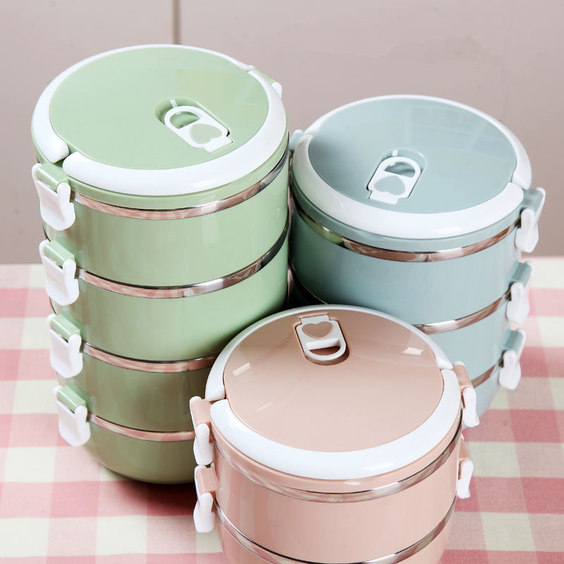New Cheap 700ml-2100ml Bowl 3 Colors Lunch Box Stainless Steel Bol Bento Box Salad Bowl for Children Camping 1-3 Layers
