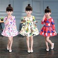 Children's 2016 new girl child long-sleeved dress made of pure cotton cuhk autumn autumn fashion princess dress 2-11 year