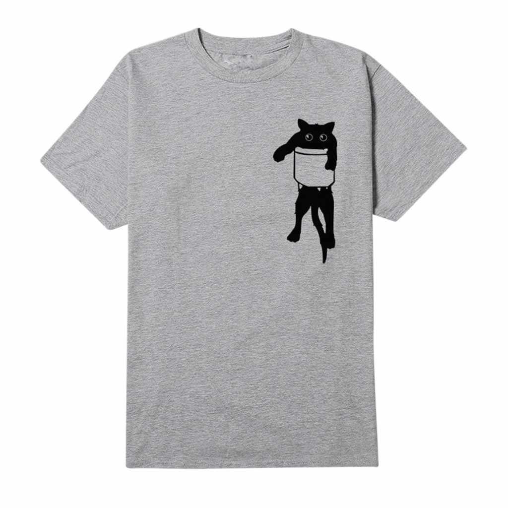 Feitong 2018 t koszula kobiety harajuku camisas mujer nadruk kota t-shirt w stylu vintage luźne na co dzień proste sweter camiseta mujer topy