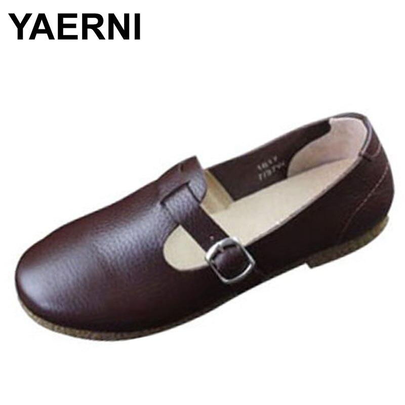 купить YAERNI  Women Shoes Flat Slip on Ballerina Flats 100% Authentic Leather Rubber Sole Ladies Flat Shoes Female Footwear онлайн