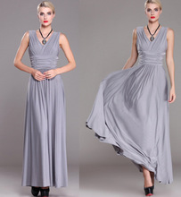 Women European Long Dresses for Party Large Size New Gray Blue Sleeveless Double V Neck Maxi Big