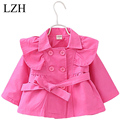 LZH Infant Girls Jacket Baby Coat Kids Pure Color Double-Breasted Coat 2016 Autumn Windbreaker Outerwear Coat Children's Clothes
