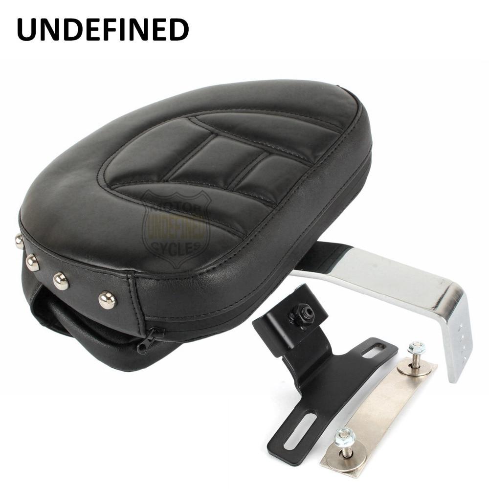 Black Motorcycle Backrest Adjustable Studded Plug-In Driver Rider Backrest Pad For Harley Heritage Softail Fatboy 2007-2017 2016 motorcycle backrest sissy bar cushion pad for 2007 2016 harley softail fatboy