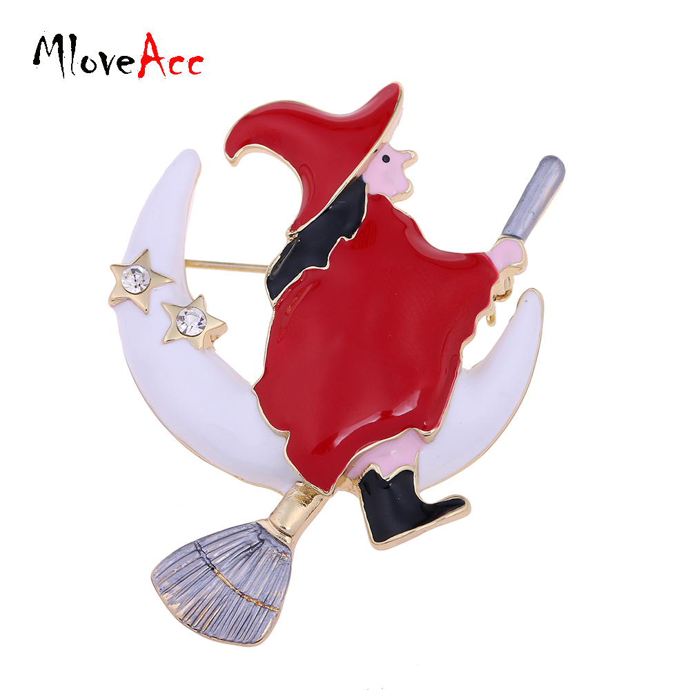Mloveacc Enamel Halloween Witch Besom Broom Moon Christmas