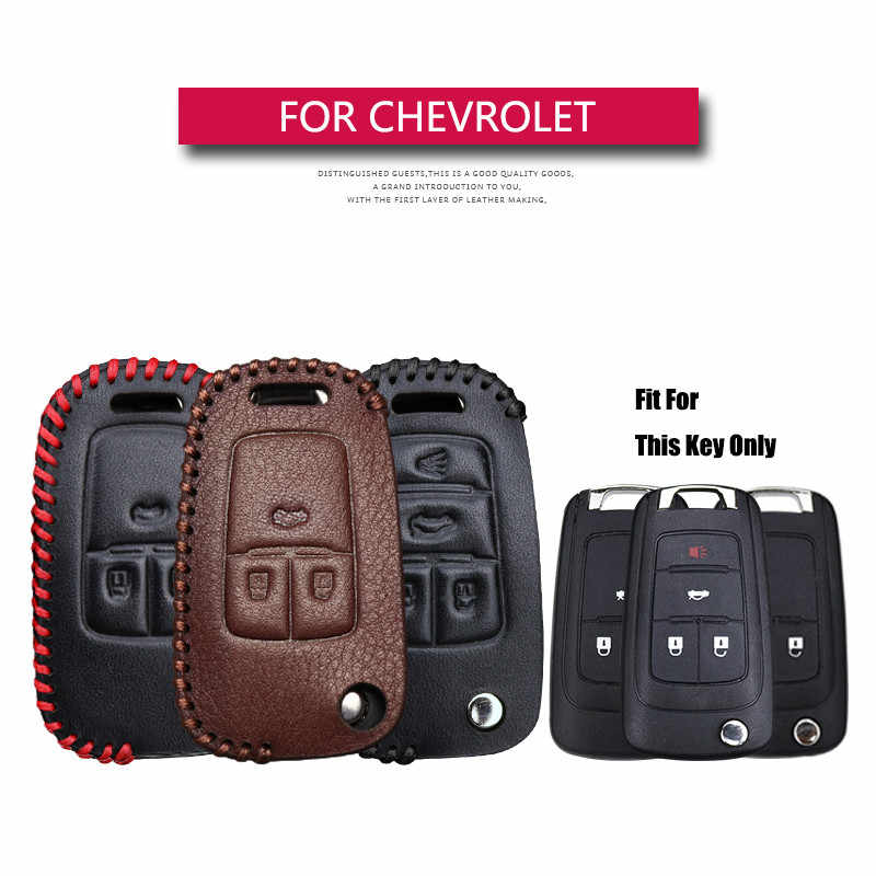 KUKAKEY Leather Car Key Case Cover For Chevrolet Sonic Spark Cruze Captiva Lacetti Orlando Epica Trax Smart Keychain Shell