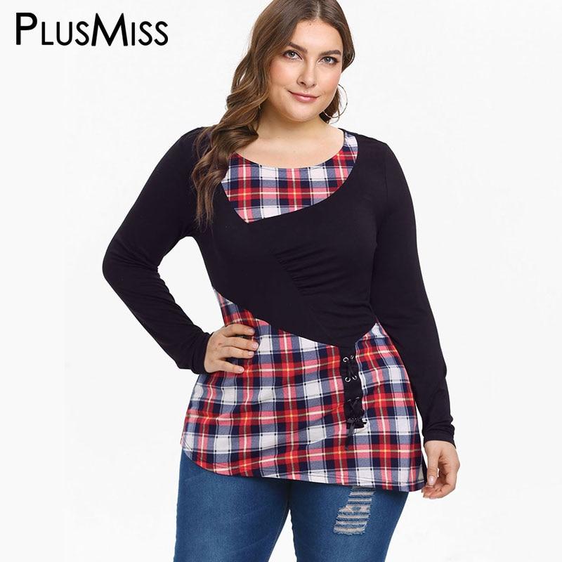 PlusMiss Plus Size 5XL Vintage Retro Plaid Checked Print T ...