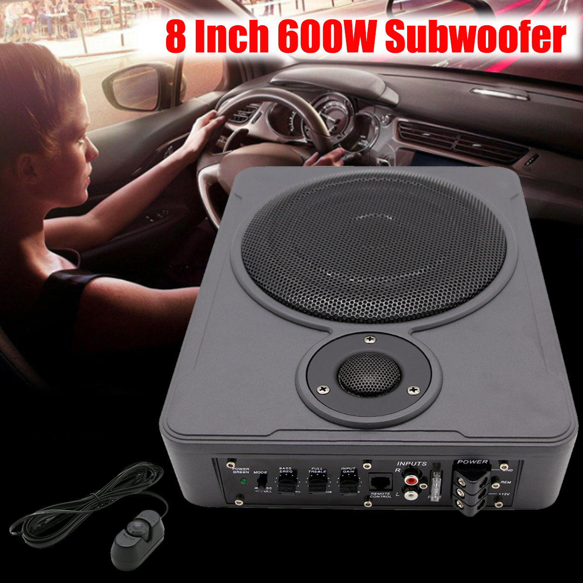 hight resolution of 8 inch bluetooth car home subwoofer under seat sub 600w stereo subwoofer car audio speaker music system sound woofer in car multimedia player from