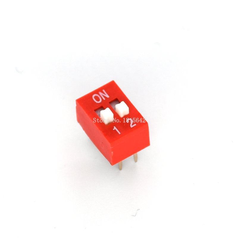 20PCS Red 2.54mm Pitch 4-Bit 4 Positions Ways Slide Type DIP Switch Z3
