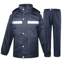 2 Pcs Outdoor Warning Thick Worker Raincoat Set Split Suit Protective Motorcycle Reflective Pants Riding Bike Waterproof Adult