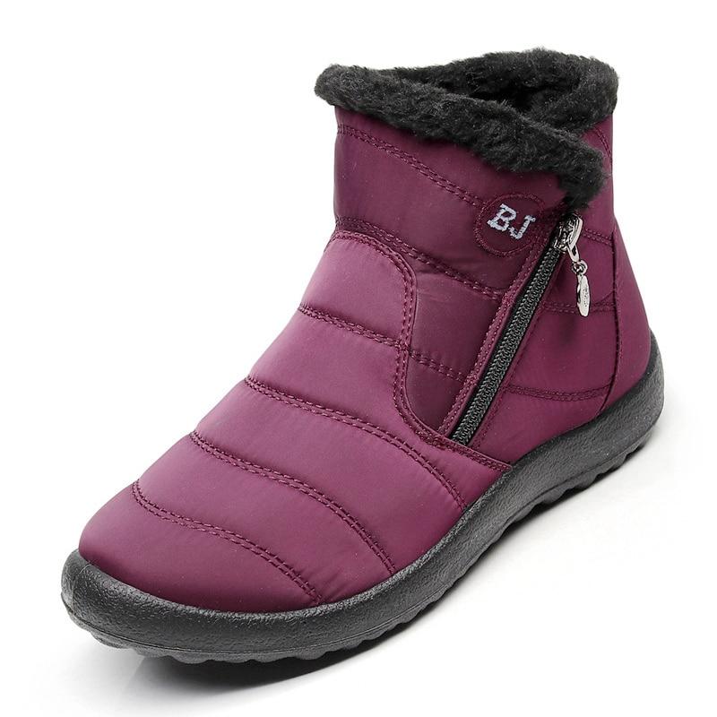 Женские зимние ботинки, Теплые ботильоны на плюшевой подошве, однотонные ботинки на молнии, большие размеры, 2018