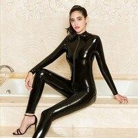 2019 New Sexy Women Red Black Patent Leather Jumpsuit Vinyl Latex Bondage Catsuit Zip Wetlook Leotard Bodysuit AD0833