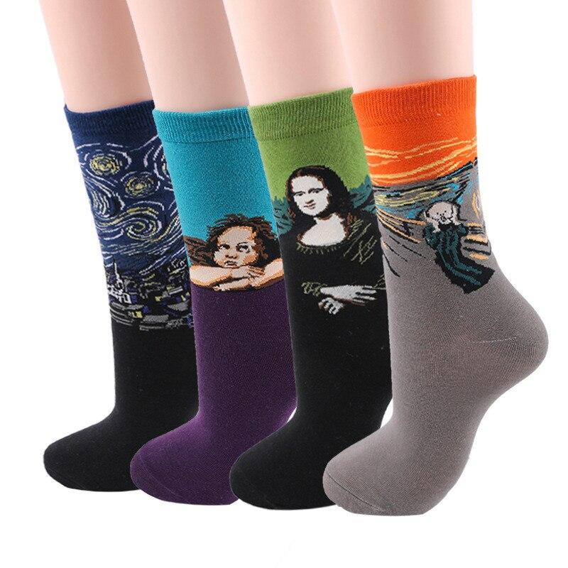 1 pair autumn winter New Retro Art Oil Painting women socks men socks fashion happy lovers cotton long socks sokken calcetines