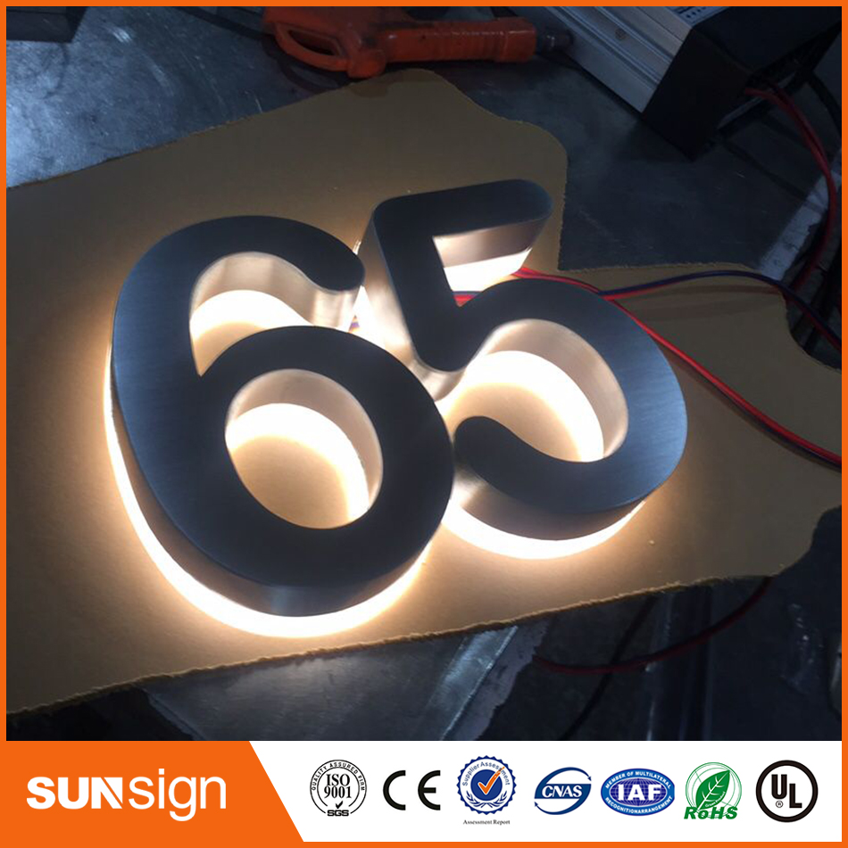 Popular Brushed Stainless Steel Led Backlit House Numbers