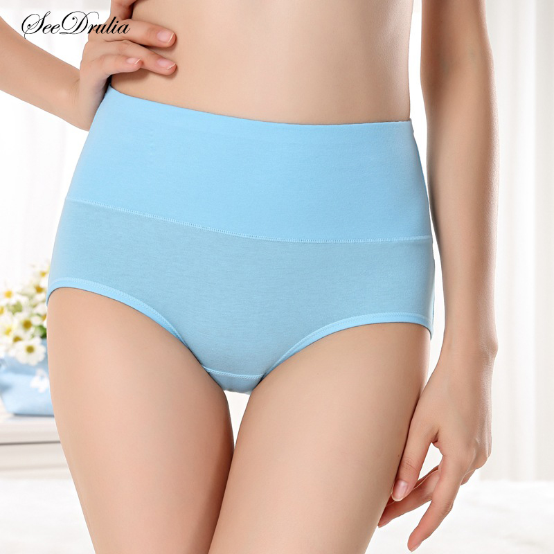 SEEDRULIA Women's Briefs Comfortable Cotton High Waist Underwear Women Sexy Ultra-thin Panties(China)