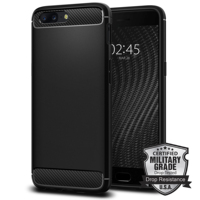 100 Original OnePlus 5 Rugged Armor Case Carbon Fiber Texture Flexible Military Grade Cases For OnePlus